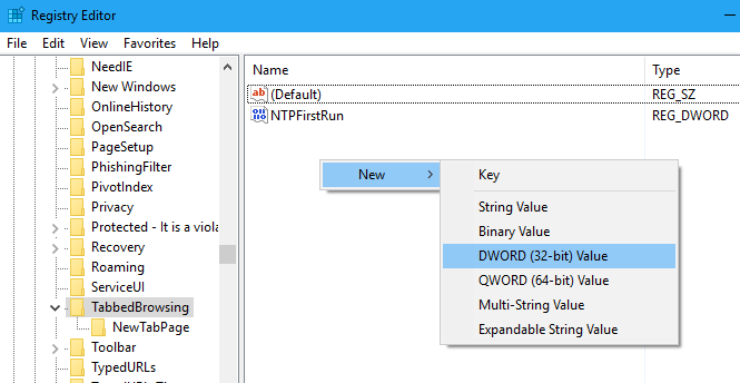 deshabilitar la vista previa de la pestaña Microsoft Edge en Windows 10 step3