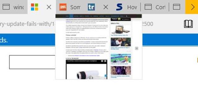 deshabilitar la vista previa de la pestaña Microsoft Edge en Windows 10