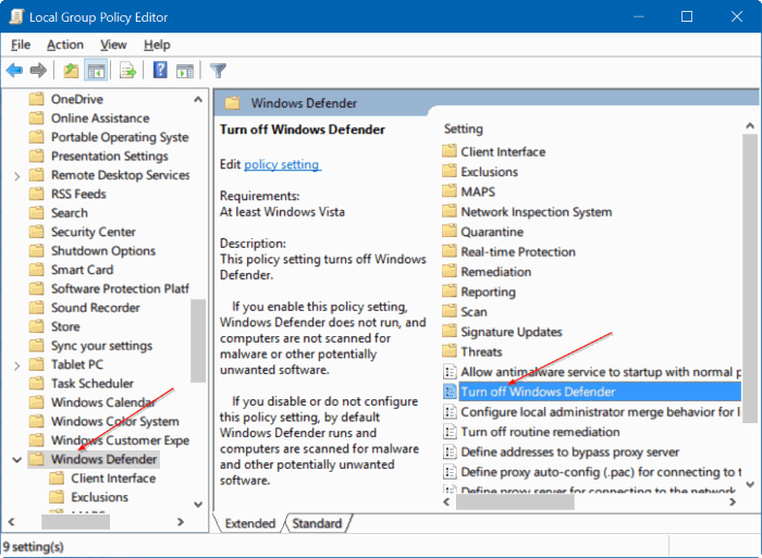 deshabilitar Windows defender en Windows 10 mediante el registro o la directiva de grupo step1