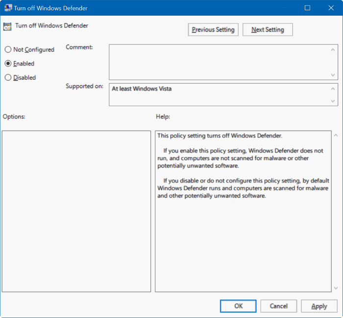 deshabilitar Windows defender en Windows 10 a través del registro o de la directiva de grupo step2