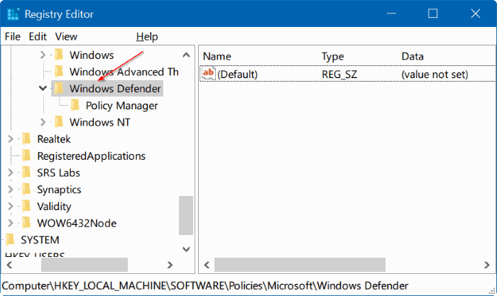 deshabilitar Windows defender en Windows 10 mediante el registro o la directiva de grupo step3
