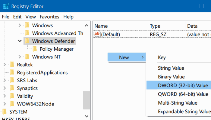 deshabilitar Windows defender en Windows 10 mediante el registro o la directiva de grupo step4
