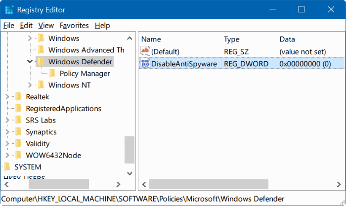 deshabilitar Windows defender en Windows 10 mediante el registro o la directiva de grupo step5