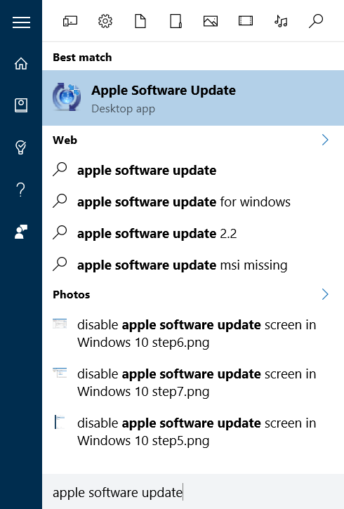 desactivar la pantalla de actualización del software de apple en Windows 10 step4.1