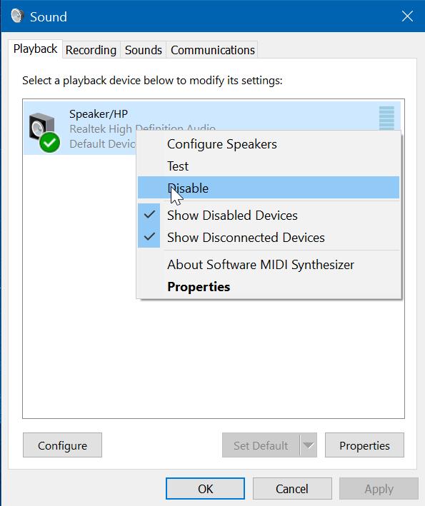deshabilitar altavoz de ordenador portátil en Windows 10 pic2