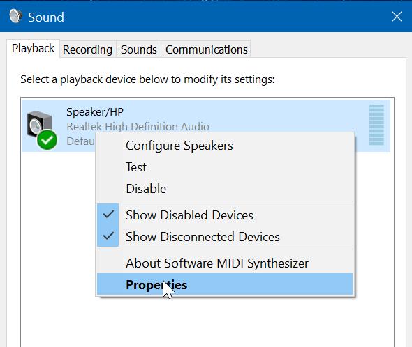deshabilitar altavoz de ordenador portátil en Windows 10 pic3