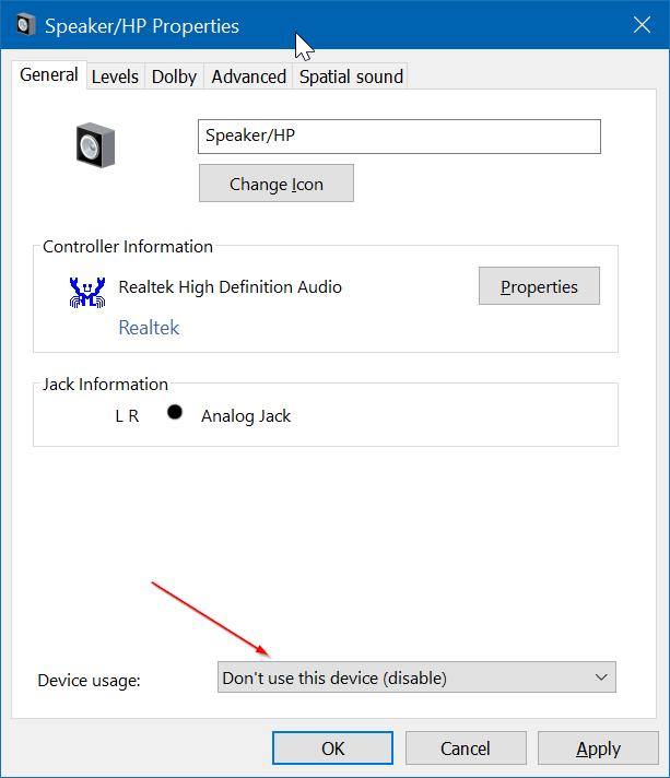 deshabilitar altavoz de ordenador portátil en Windows 10 pic4
