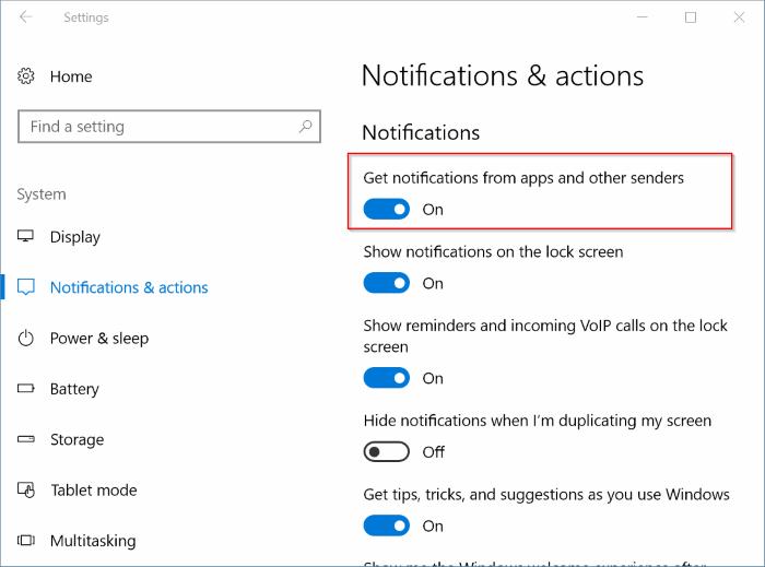 deshabilitar notificaciones para aplicaciones específicas en Windows 10 pic1