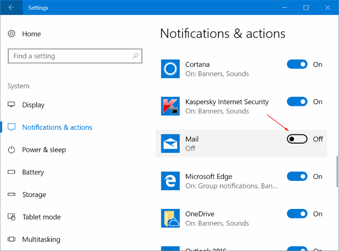 deshabilitar notificaciones para aplicaciones específicas en Windows 10 pic2