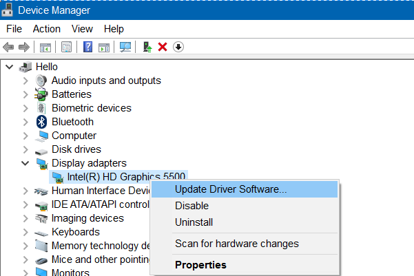 display driver failed to start error in Windows 10 pic1