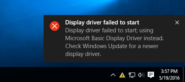 display driver failed to start error in Windows 10