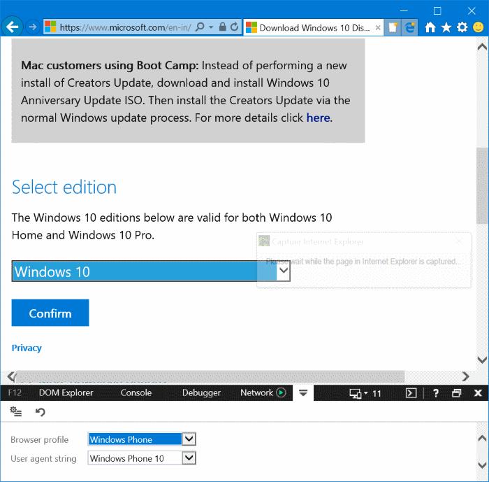 descargar Windows 10 ISO sin la herramienta de creación de medios pic4