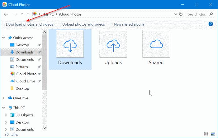 descargar fotos icloud a Windows 10 PC pic10