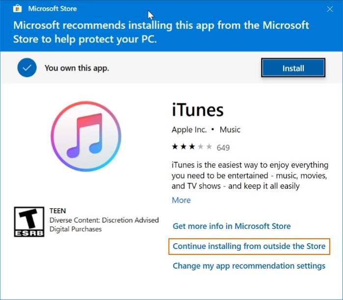 descargar itunes desde apple sin usar Windows Store en Windows 10 pic7