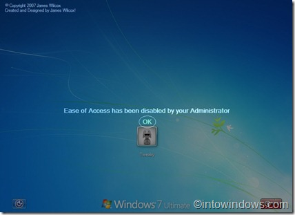 easy of access disabled in windows 7 logon