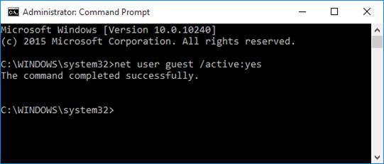 habilitar cuenta huésped en Windows 10 step4