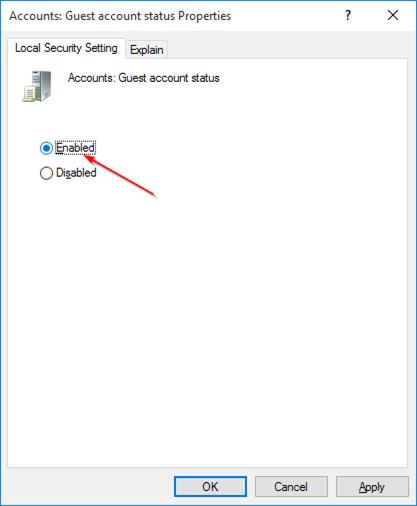 habilitar cuenta huésped en Windows 10 step7