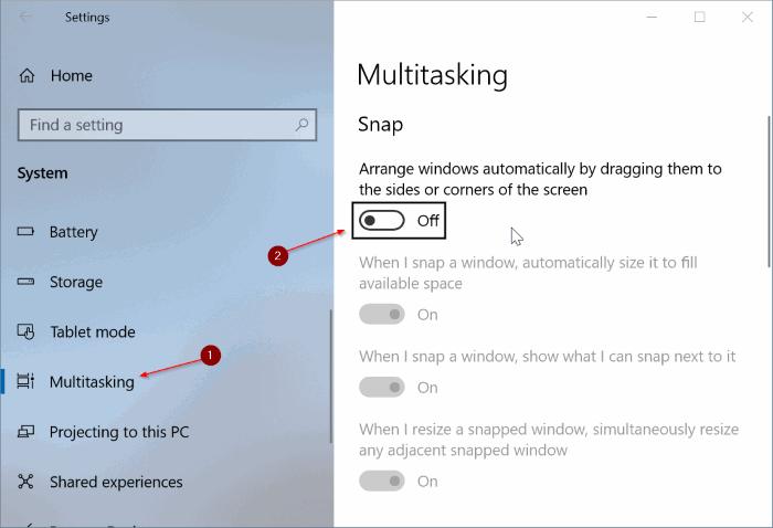 activar o desactivar aero shake en Windows 10