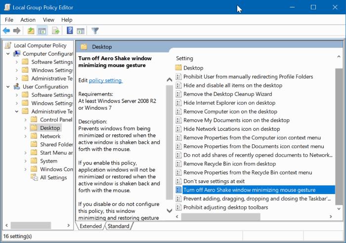activar o desactivar Aero Shake en Windows 10 pic3