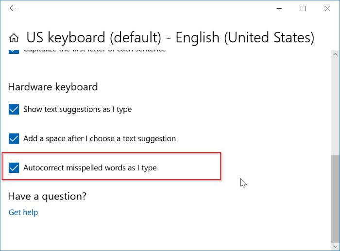 activar o desactivar la corrección automática en Windows 10 pic2