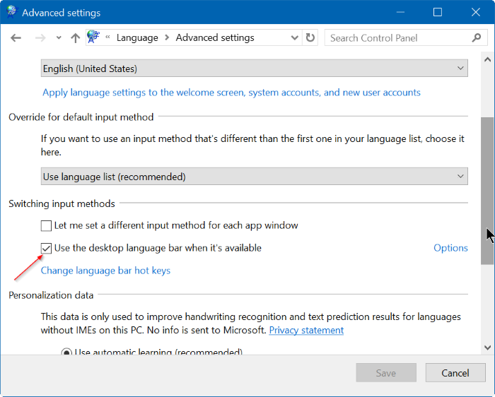 activar o desactivar la barra de idioma en Windows 10 step4