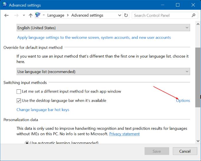 activar o desactivar la barra de idioma en Windows 10 step5