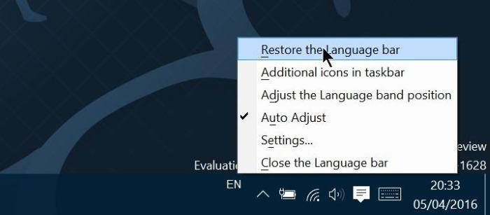 activar o desactivar la barra de idioma en Windows 10 step9