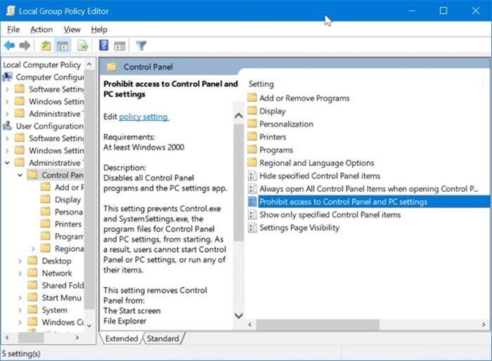 activar o desactivar la configuración y el Panel de control en Windows 10 pic2