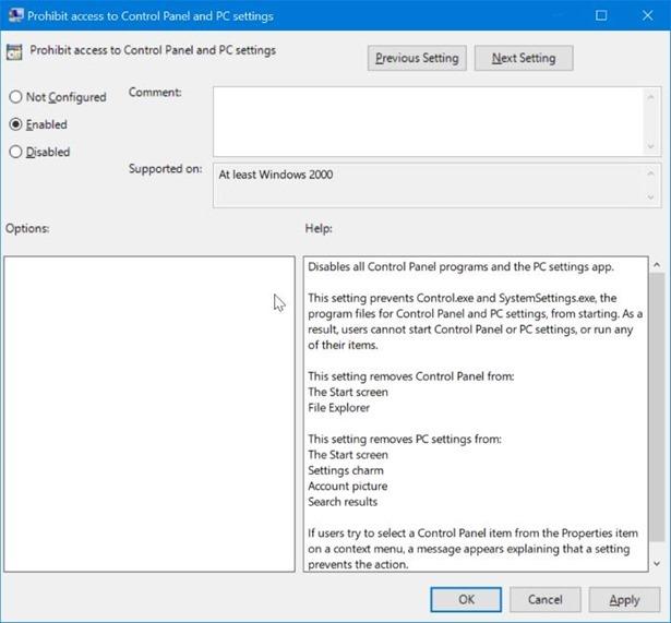 activar o desactivar la configuración y el Panel de control en Windows 10 pic3