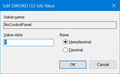 activar o desactivar la configuración y el Panel de control en Windows 10 pic5