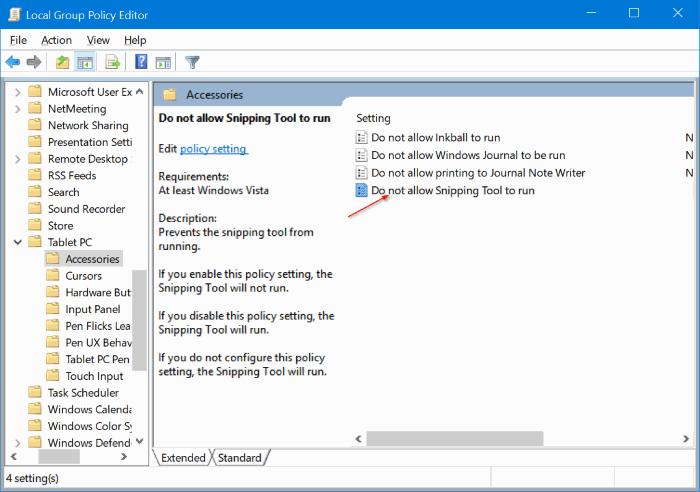 activar o desactivar la herramienta de recorte en Windows 10 pic2