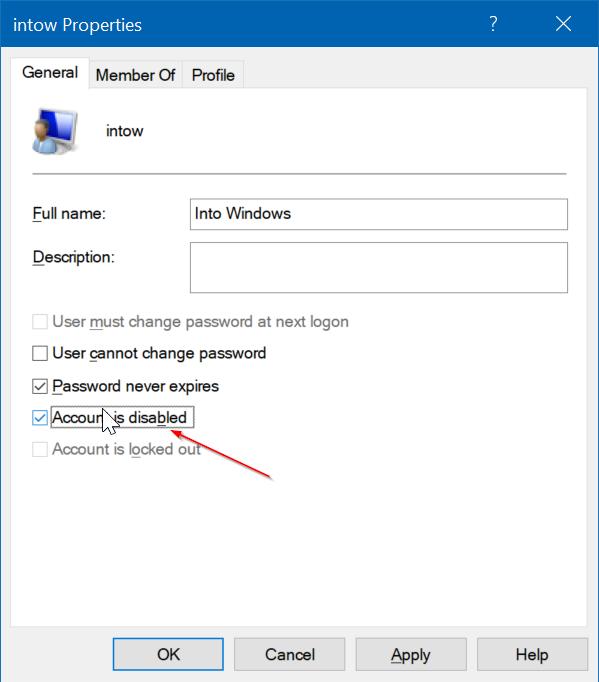 activar o desactivar la cuenta de usuario en Windows 10 pic4