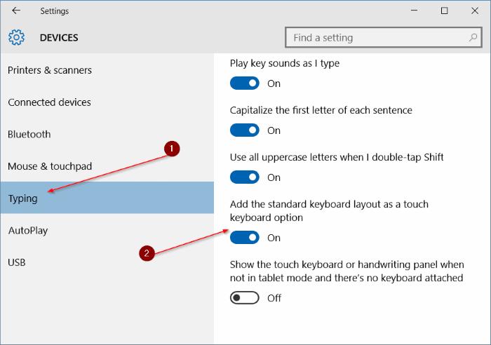 habilitar la disposición estándar del teclado completo en el teclado táctil en Windows 10 pic5
