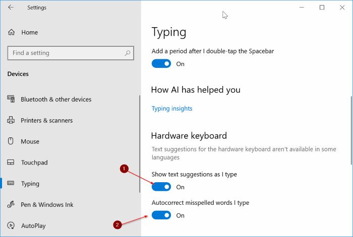 habilitar sugerencias de texto para todos los programas en Windows 10