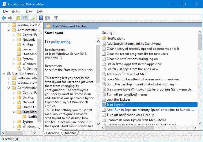 exportar e importar Diseño del menú Inicio en Windows 10 pic5