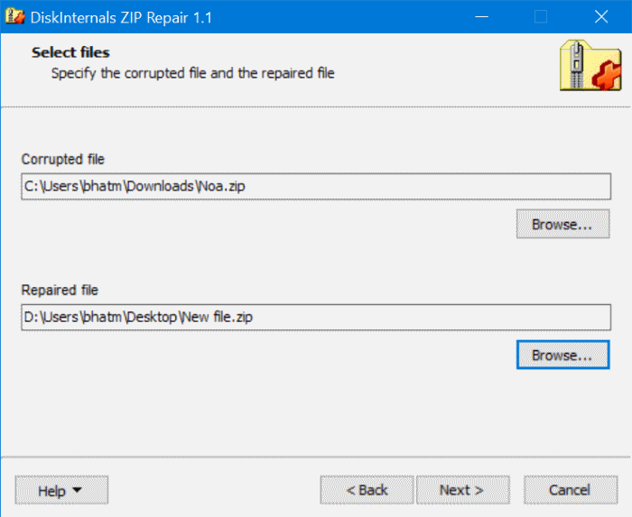 extraer archivos de un archivo zip dañado en Windows 10 pic3