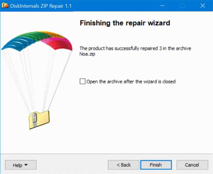 extraer archivos de un archivo zip dañado en Windows 10 pic5