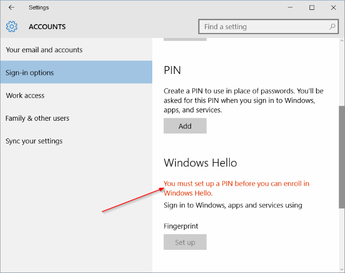 botón de configuración de huellas digitales gris en Windows 10 pic02