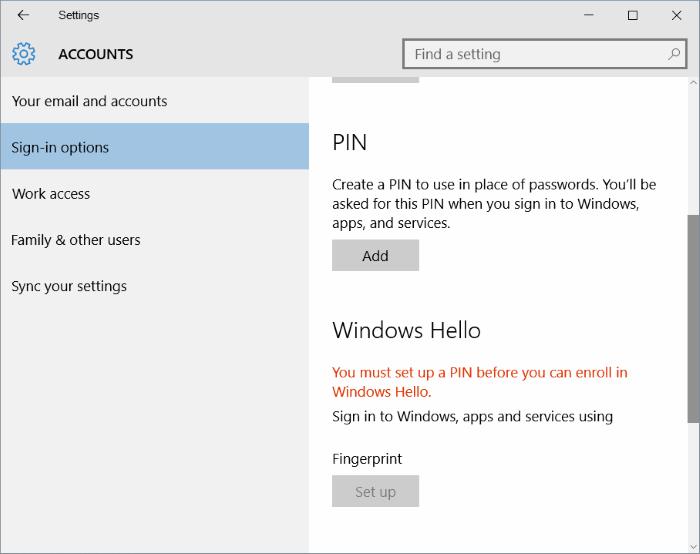 botón de configuración de huellas digitales en Windows 10