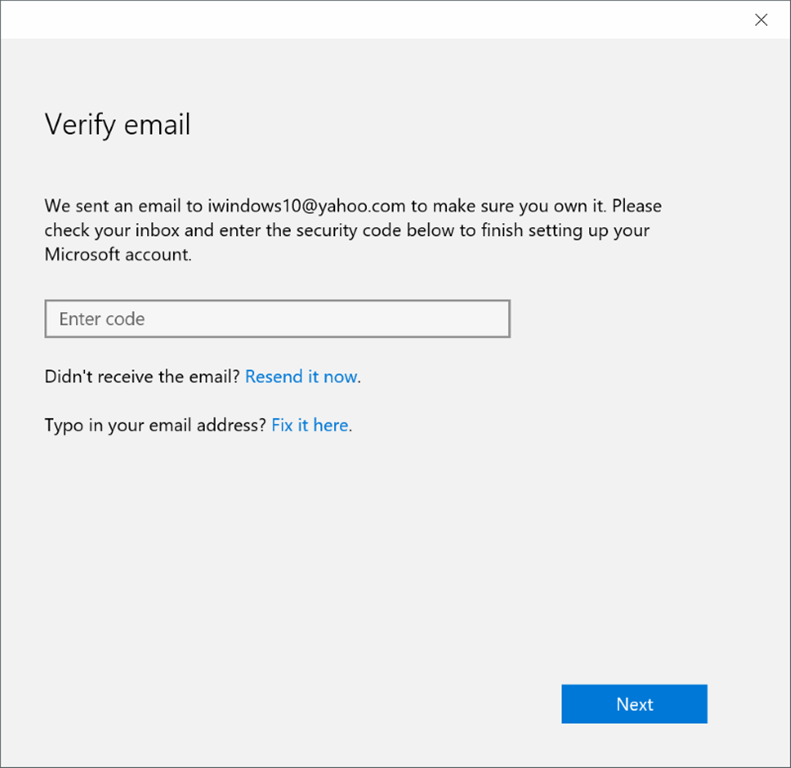 finish setting up your account Windows 10