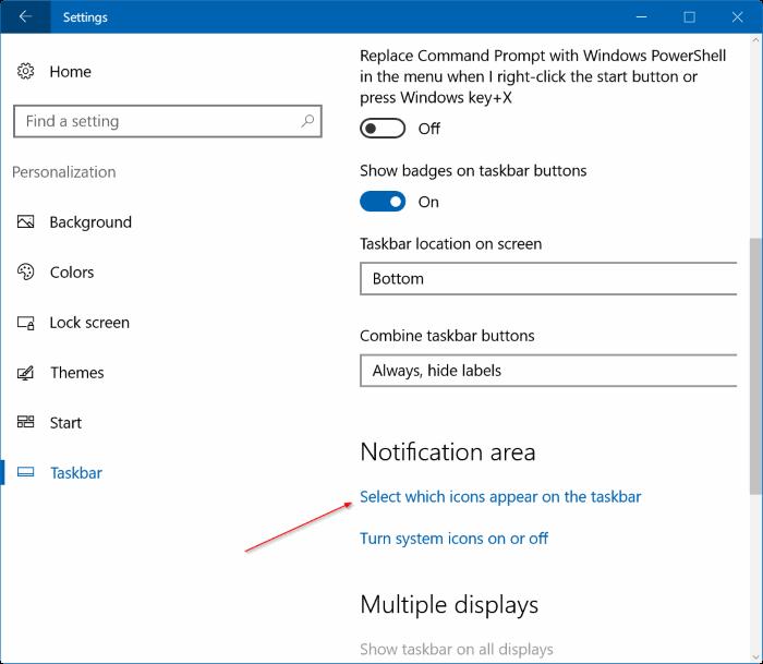 fijar en el icono de batería que falta en la barra de tareas de Windows 10