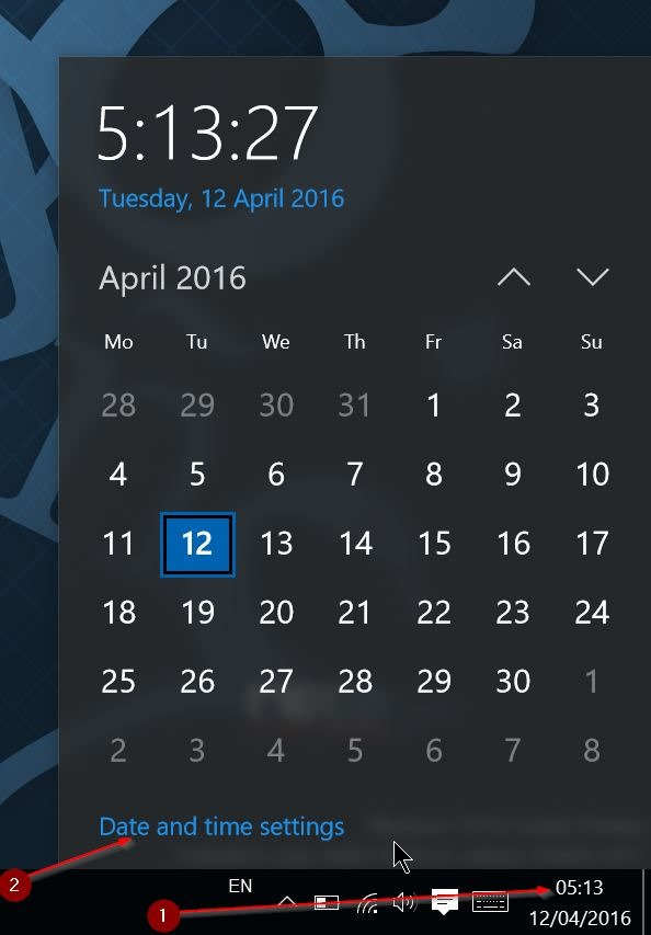 corregir fecha y hora incorrectas en Windows 10 step1