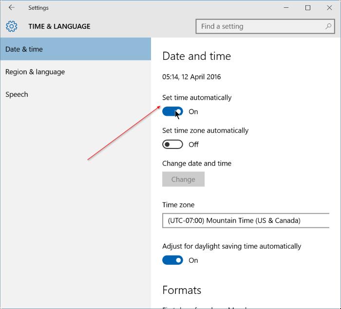 corregir fecha y hora incorrectas en Windows 10 step3