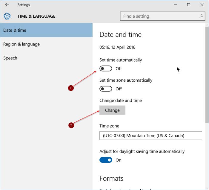 corregir fecha y hora incorrectas en Windows 10 step8
