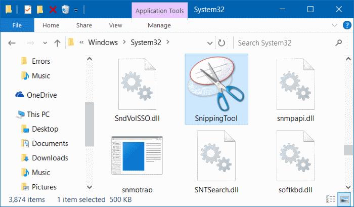 corregir la falta de la herramienta Recortar en el menú Inicio de Windows 10 pic2