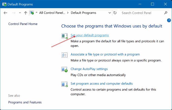 Corregido por no poder cambiar el navegador web predeterminado o las aplicaciones Windows 10 pic3