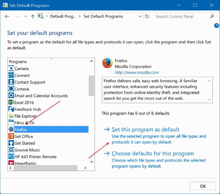Corregido por no poder cambiar el navegador web predeterminado o las aplicaciones Windows 10 pic4