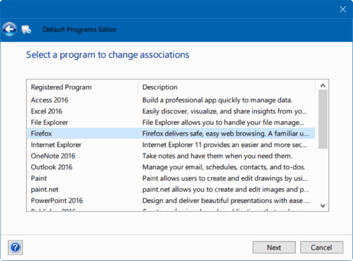 Corregido por no poder cambiar el navegador web predeterminado o las aplicaciones Windows 10 pic6