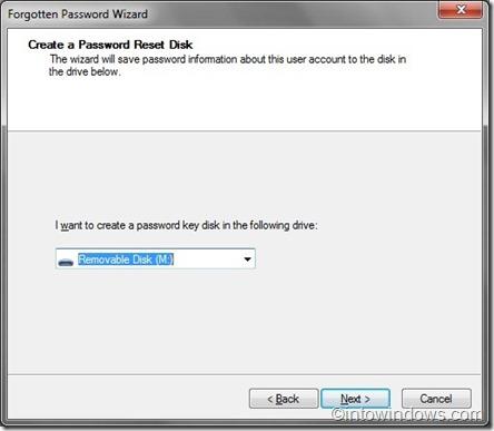 asistente de contraseña olvidada seleccione usb o disquete