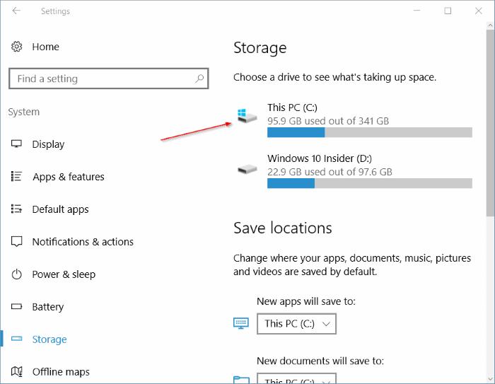 liberar espacio en disco después de la actualización del aniversario de Windows 10 pic1